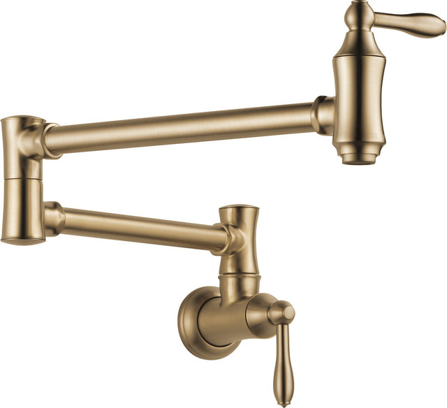 Delta Traditional Wall Mount Pot Filler, Champagne Bronze, 1177LF-CZ