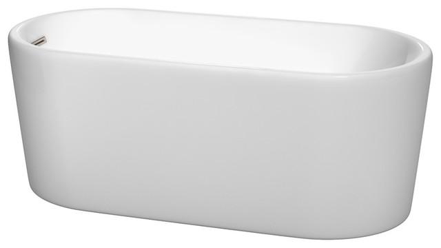 "Ursula Freestanding Bathtub, Brushed Nickel, 59"", No Faucet."