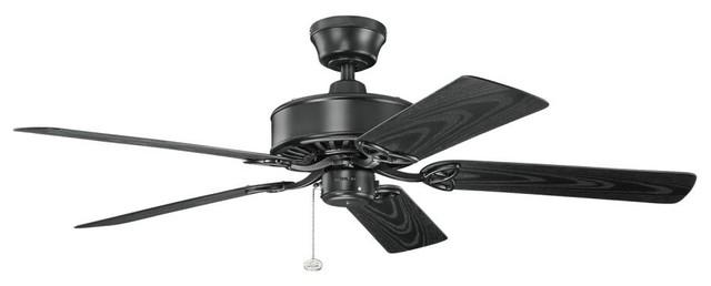 "Kichler Lighting 339515sbk Renew Patio Satin Black 52"" Ceiling Fan."