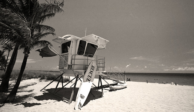 Lifeguard stand boca raton beach florida fine art black and white photography 1
