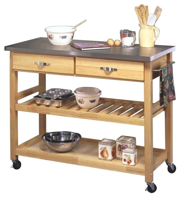Home Styles Furniture Solid Wood Top Kitchen Cart in Natural ...