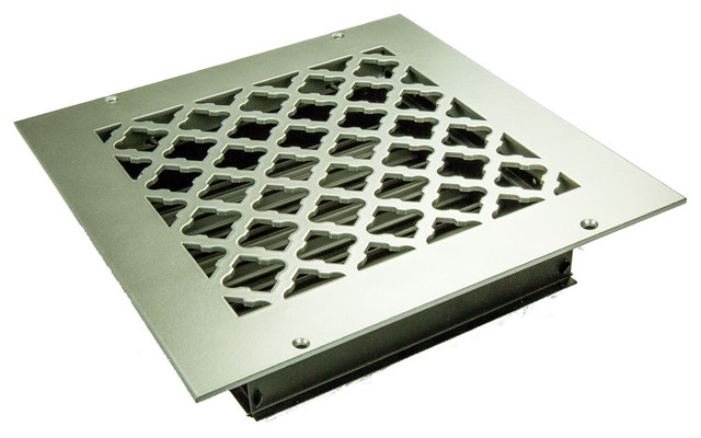 "Tuscan Solid Steel Floor Supply Vent, Oil Rubbed Bronze, 9""x9"" Supply."