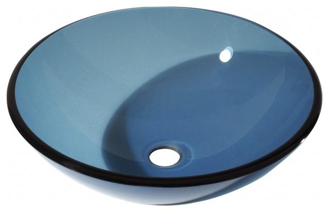 Multi Layer Blue Unique Shaped Glass Vessel Sink