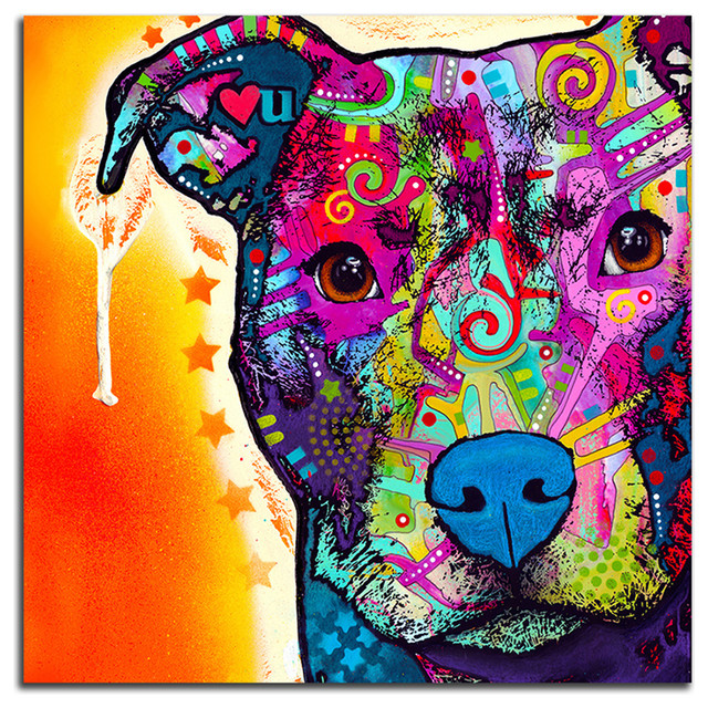 Colorful Pitbull Metal Wall Art