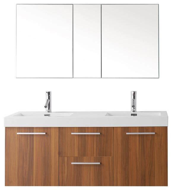 Virtu Midori 54 Double Bathroom Vanity, Plum, Brushed Nickel Faucet.