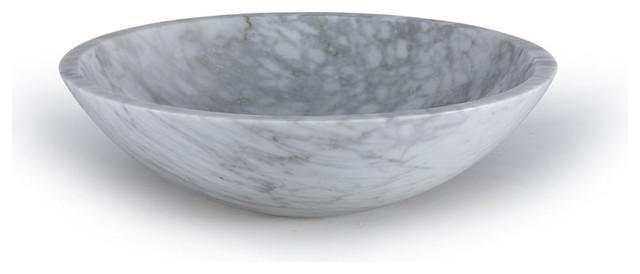 Xylem Round Stone Vessel - Carrera Marble.