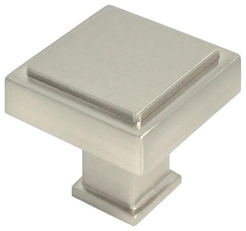 Square Modern Cabinet Knob, Satin Nickel