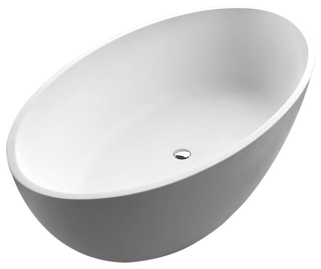 ANZZI Cestino 5.5 ft. ANZZI Stone Center Drain Freestanding Bathtub