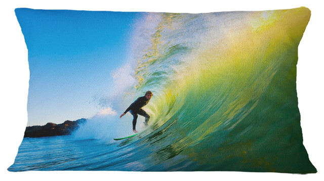 Surfer Beating Green Waves Photography Throw Pillow Beach Style Decorative Pillows By Design Art Usa