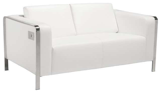Pleasant Modern Contemporary Urban Living Room Office Loveseat Sofa White Faux Leather Caraccident5 Cool Chair Designs And Ideas Caraccident5Info