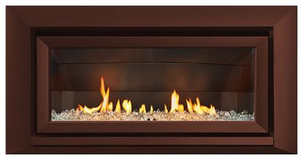 Escea Indoor Gas Florentine Bronze Fireplace - Velo Front, W/ Fuel Bed, W/o Flue.