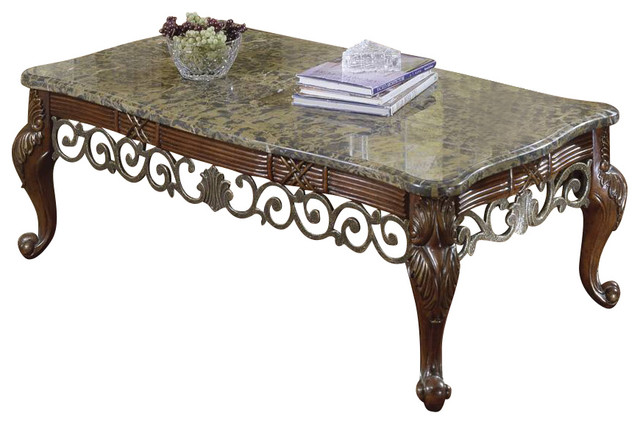 Homelegance barcelona 3 piece marble top coffee tables set traditional coffee table sets Granite top coffee table sets