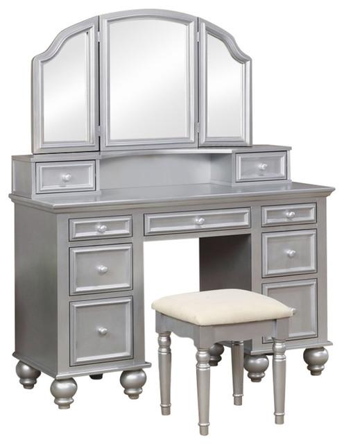 Furniture of America Tamarah 3-Piece Bedroom Vanity Set in Silver