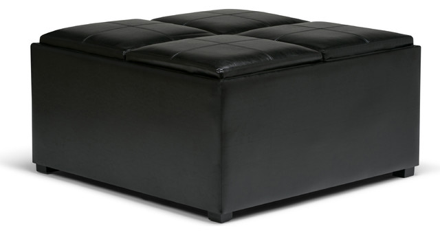 Avalon Coffee Table Storage Ottoman With 4 Serving Trays, Midnight Black  Transitional Footstools