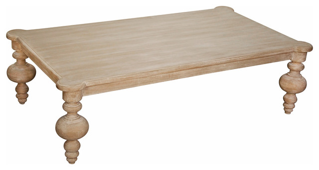 Brenna French Country White Wash Coffee Table Traditional