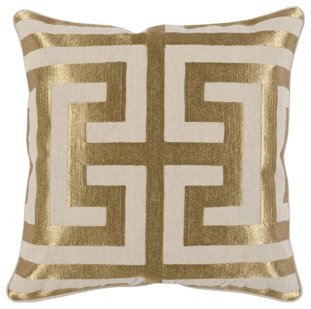 "Carly Embroidered 22"" Throw Pillow, Gold by Kosas Home"