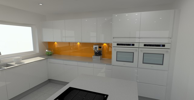 White Kitchen Orange Splashback high gloss white kitchen with orange splashback & stainless steel