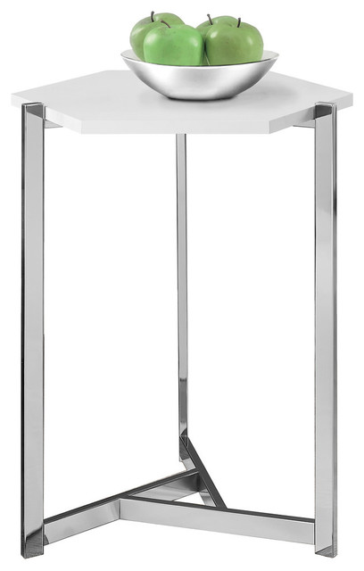 Hexagon Accent Table With Chrome Metal, Glossy White.
