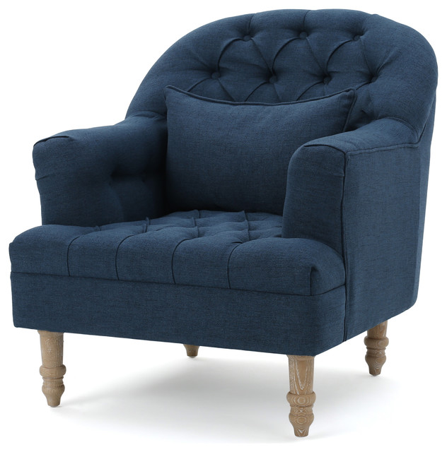 Kimberly Fabric Tufted Club Chair, Dark Blue