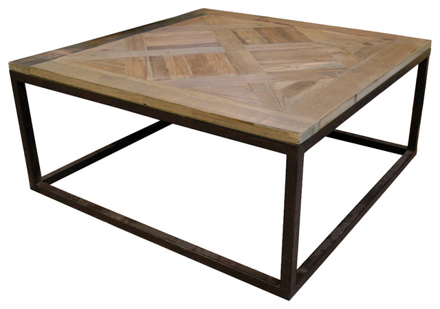 Gramercy Modern Rustic Reclaimed Parquet Wood Iron Coffee Table Transitional Coffee Tables