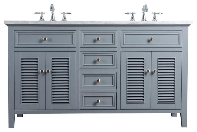 "60"" Slate Gray Double Vanity Cabinet, Shutter Double Doors Dual Bathroom Sinks"