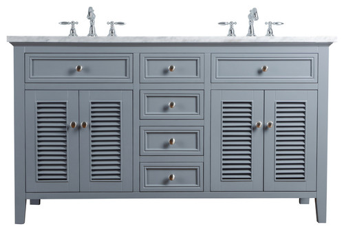 "60"" Slate Gray Double Vanity Cabinet With Shutter Double Doors Dual Sinks"