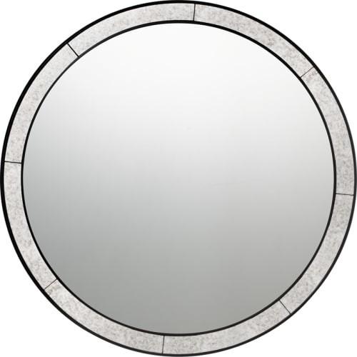 """Quoizel Qr3333 Reflections 30""""x30"""" Circular Flat Wood Vanity Mirror, Silver Leaf."""