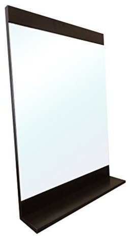 Solid Wood Frame Mirror With Attached Bottom Shelf  Gunstock by Bellaterra Home