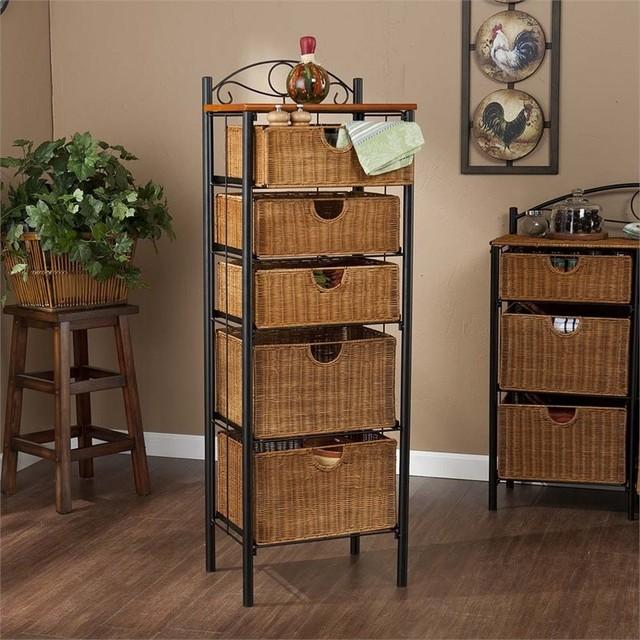 Southern Enterprises 5 Drawer Iron Wicker Storage Unit