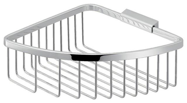 Modern Chromed Stainless Steel Wire Corner Shower Basket Contemporary Shower Caddies By Thebathoutlet
