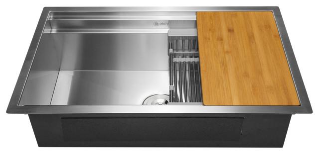 """AKDY 33""""x22""""x9"""" Undermount Handmade Stainless Steel Kitchen Sink"""
