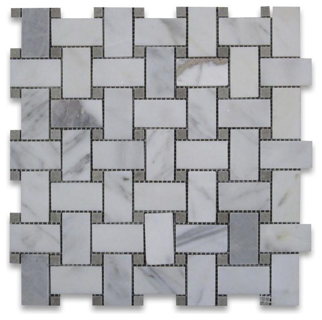 12 Quot X12 Quot Calacatta Gold Basketweave Mosaic Gray Dots