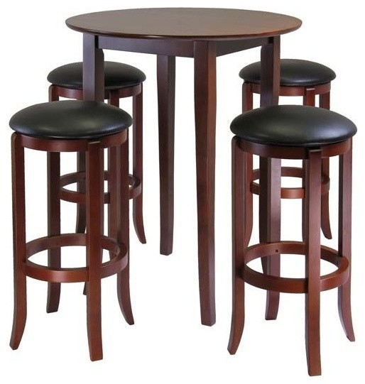 premium selection 17eec 36d0e Winsome Fiona 5 Pieces Round High, Pub Table Set in Antique Walnut