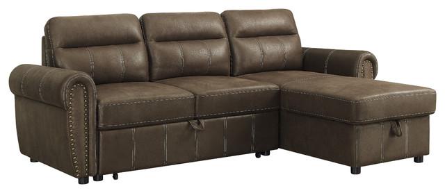 Ashton Microfiber Reversible Sleeper Sectional Sofa, Saddle Brown