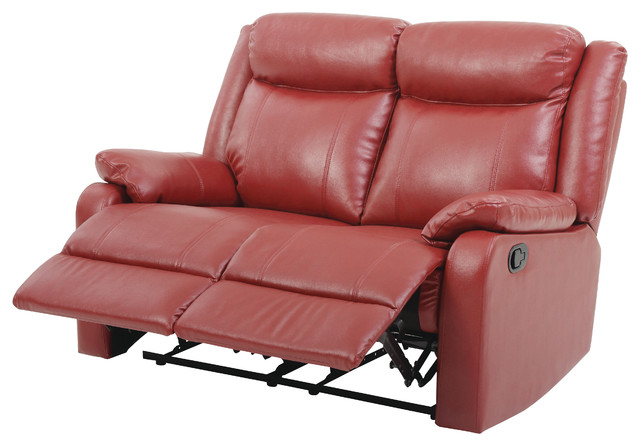 Cobre Faux Leather Double Reclining Love Seat, Red.