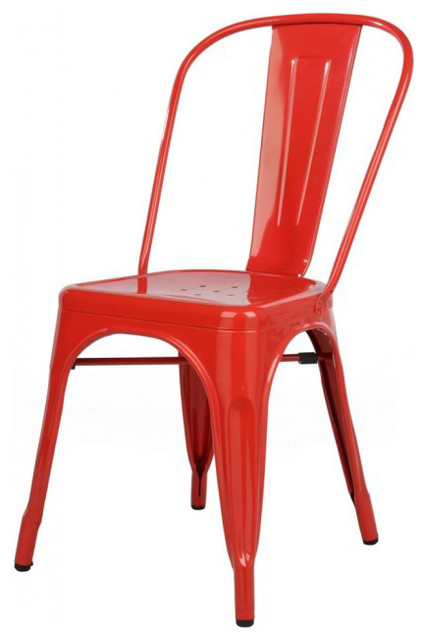 Tolix style metal industrial loft designer red cafe chair for Industrial design chair