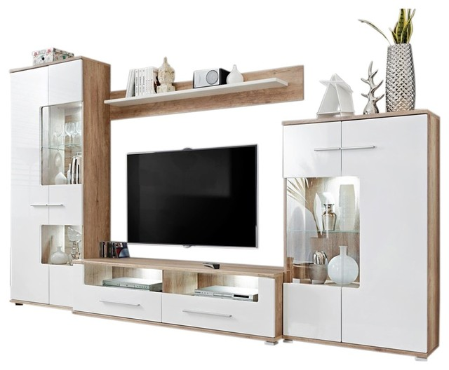 Saala 3 Entertainment Center Wall Unit With Led Lights 60 Tv Stand