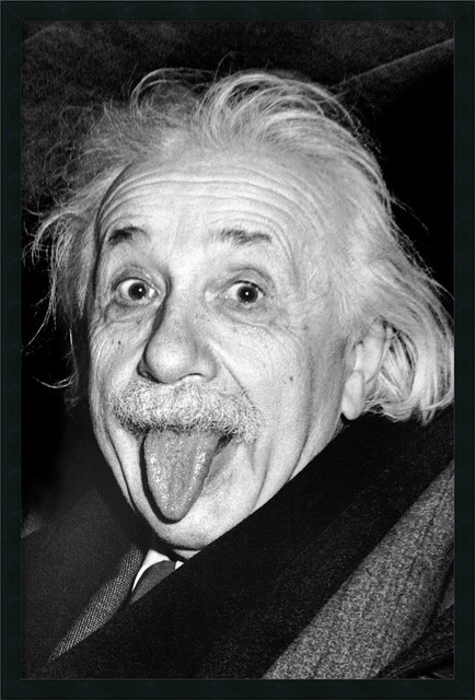Albert Einstein Funny Face Framed With Gel Coated Finish Traditional Prints And Posters