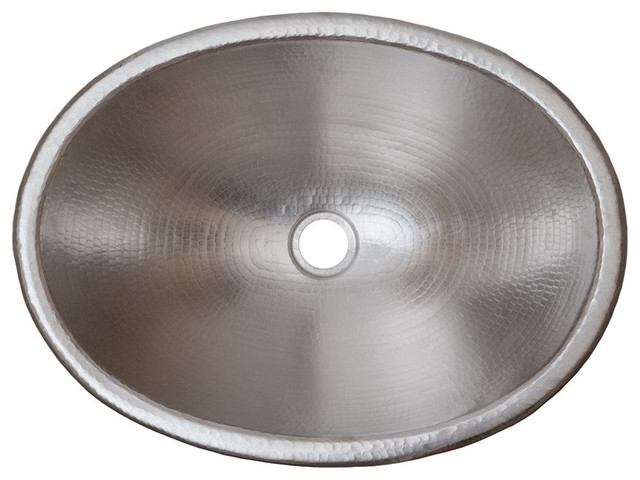 19 Oval Self Rimming Hammered Copper Bathroom Sink In Electroless Nickel.