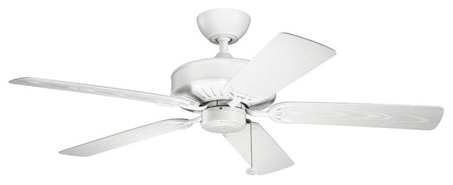 "Kichler Enduro Outdoor Ceiling Fan, Matte White, 52""."