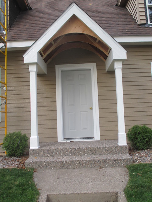 portico interior roof front door and details on