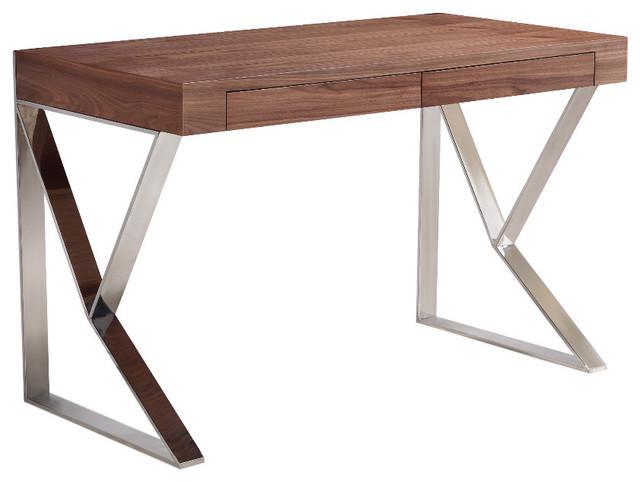 Image of: Office Desk Walnut Intended Karpenter Twist Office Desk walnut Modern For Your Home Online Or In Store