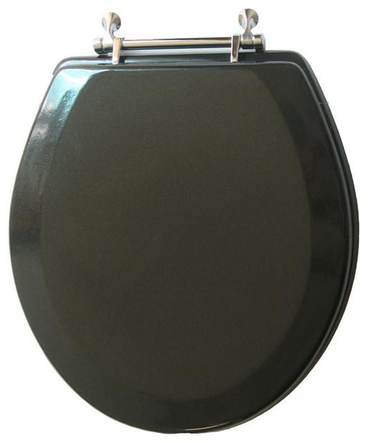 Trimmer Premium Metallic Black Wood Toilet Seat With Chrome Hinges
