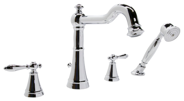 2 Handle Deck Mount Roman Tub Faucet Handheld Sprayer Traditional