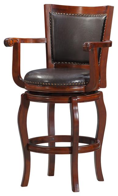 Surprising Jones Swivel Bar Stool Cherry With Brown Pu Creativecarmelina Interior Chair Design Creativecarmelinacom