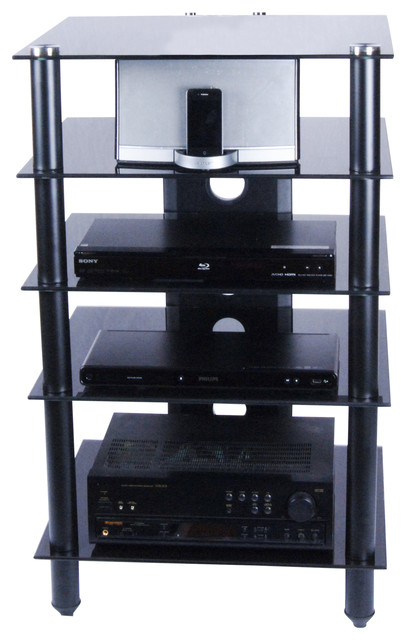 Tier One Design Tier One Designs Black Glass and Aluminum Component Audio Rack - Home ...