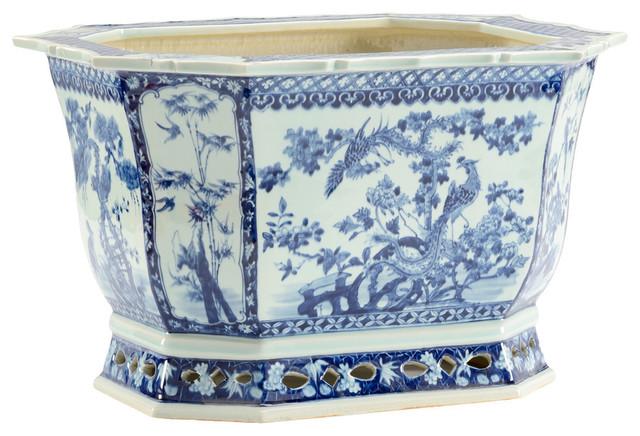 Chelsea House Nanking Blue And White Porcelain Planter