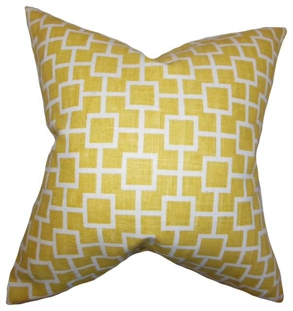 "Janka Geometric Pillow Yellow 18""x18""."