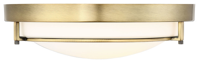 2-Light Flush Mount, Natural Brass