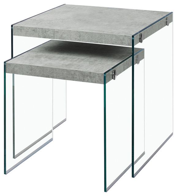 Monarch 2pcs Set Nesting Table In Grey Cement Tempered Glass.
